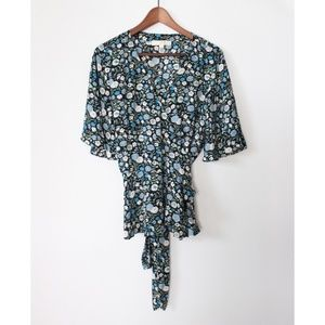 LOFT XL Wrap Blouse Floral Kimono Short Sleeve